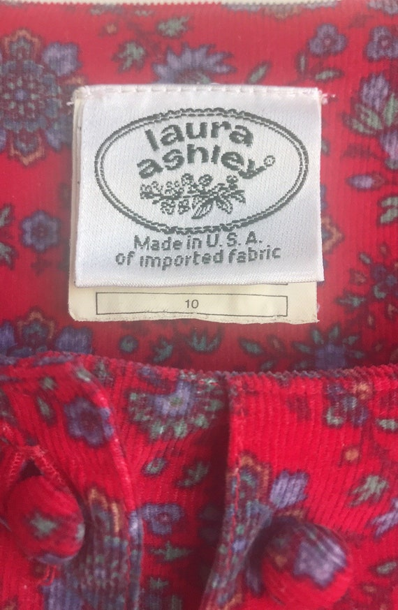 Vintage Laura Ashley Red Floral Cottagecore dress - image 7