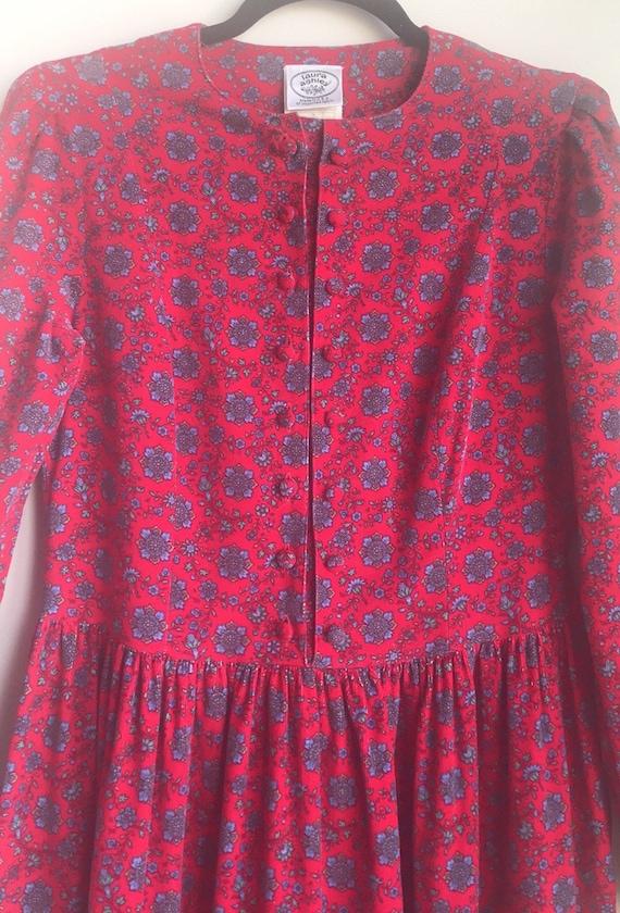 Vintage Laura Ashley Red Floral Cottagecore dress - image 5