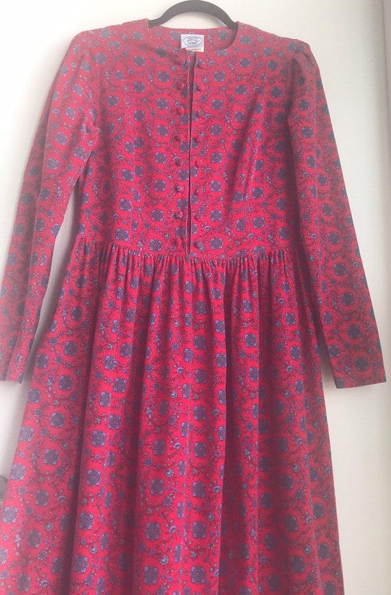 Vintage Laura Ashley Red Floral Cottagecore dress - image 3