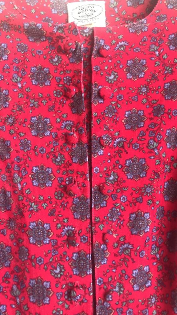 Vintage Laura Ashley Red Floral Cottagecore dress - image 10