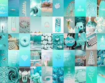 Teal Wall Collage Kit Digital, Teal Aesthetic Collage, Turquoise Dorm Room Decor, Summer Surf Pictures, Aqua Photo Collage Teen Girl Bedroom
