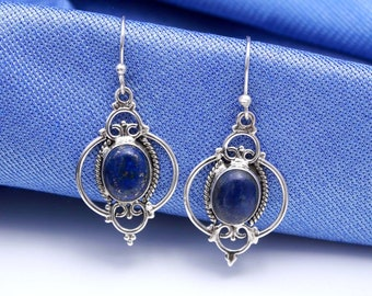 Blue Lapis Lazuli /& Silver Beaded Drop Earrings with TuscanVintage Chandelier Drop Crystals. 644
