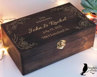 Custom Wedding Box, Gift for Wedding, Wedding Card Box, Wood Memory Box, Personalized Gift, Engraved Wooden Box, Keepsake Box, Treasure Box