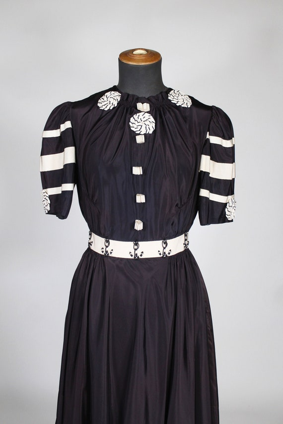 1950's navy dress / Navy dress 1950