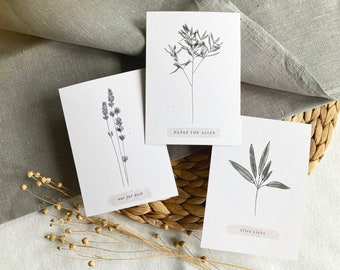 Set of 3 postcards branches of recycled paper