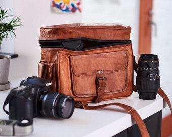 Leather Camera Bag, Camera Satchel Bag, Vintage Shoulder Camera Bag For Nikon, Canon, Sony DSLR, Real Leather Saddle Bag, personalized gift