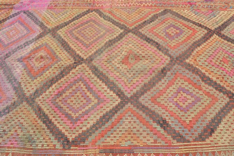 turkish rug 6.6x9.3 ft kilim oushak rug oriental vintage rug vintage decor home decor handmade rug decor carpet rugs anatolian rug boho