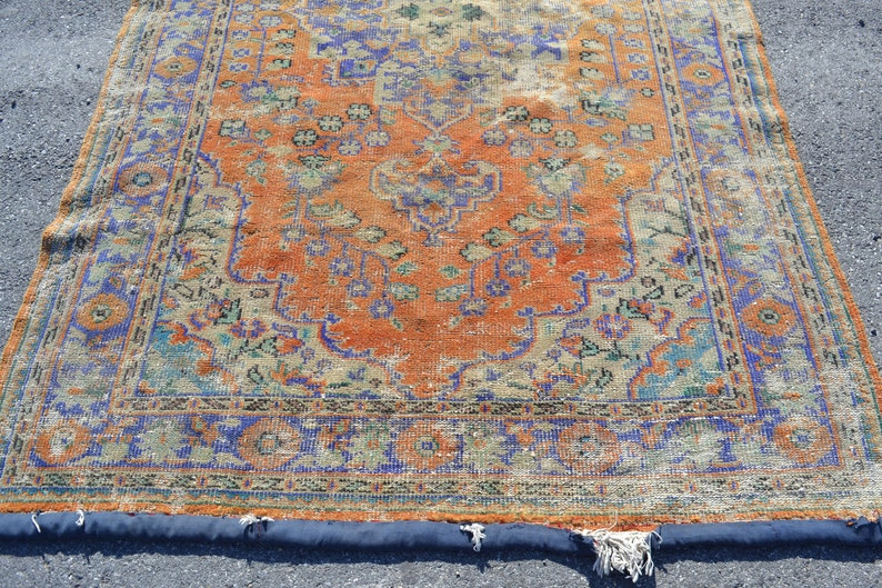 turkish rug 5.5x8.8 ft orange oushak rug oriental vintage rug vintage decor home decor room decor carpet rugs anatolian rug boho handmade