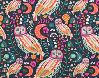 Sova Dayglow - Owl Fabric, Bird Fabric, Fat Quarter, by the Yard or Half Yard Quilting Cotton - NEXT DAY SHIPPING!