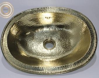 Brass sink hammered oval handmade , bathroom/kitchen decor , brass sink vintage style , bathroom vanity