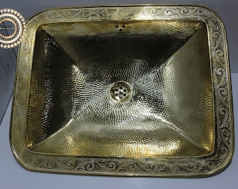 Solid Brass Handcrafted Drop In Sink , Hammered copper sink, square shape , dropped in sink , Vanity Bowl Sink ,100% handmade