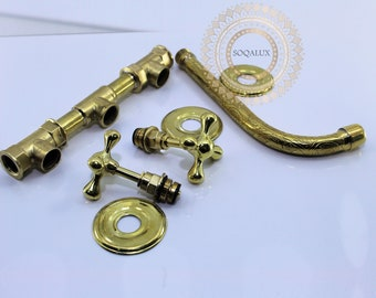 Brass Wall Mounted Bathroom Faucet with engraved finish and Flat Cross Handles Handmade