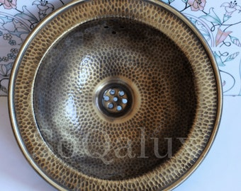 Hammered Bronze copper sink  for kitchen or bathroom with vintage bronze color and luxurious decoration