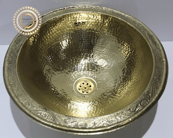 brass Handcrafted Drop In Sink , hammered brass sink , dropped in sink , Vanity Bowl Sink ,100% handmade