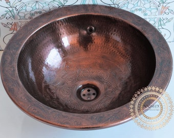 Red Copper sink handmade with exquisite and luxurious decoration