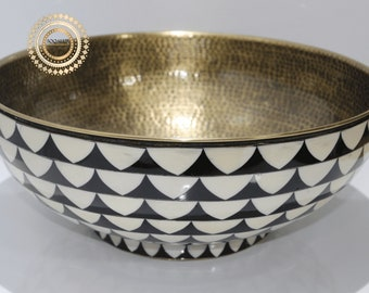 Luxurious vessel sink , hand-hammered with high professionalism , wood And Brass Bathroom Sink , Vanity Vessel Sink