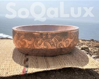 Hammered copper vessel sink,  Antique Engraved Sink , copper hand-decorated sink, charming color