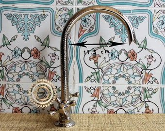 Silver faucet 2: Shiny Solid Silver Faucet, hammered faucet for Kitchen and Bathroom, Luxurious Silver Color, 100% Handmade