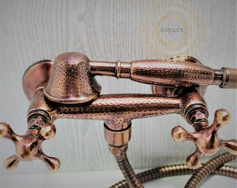 red copper Shower System and Handheld Shower with vintage design Fits Any Bathroom in different shapes and styles