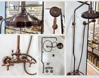 Copper Rain Shower System With Handheld Shower Faucet , Handheld Shower And Shower Head Combo
