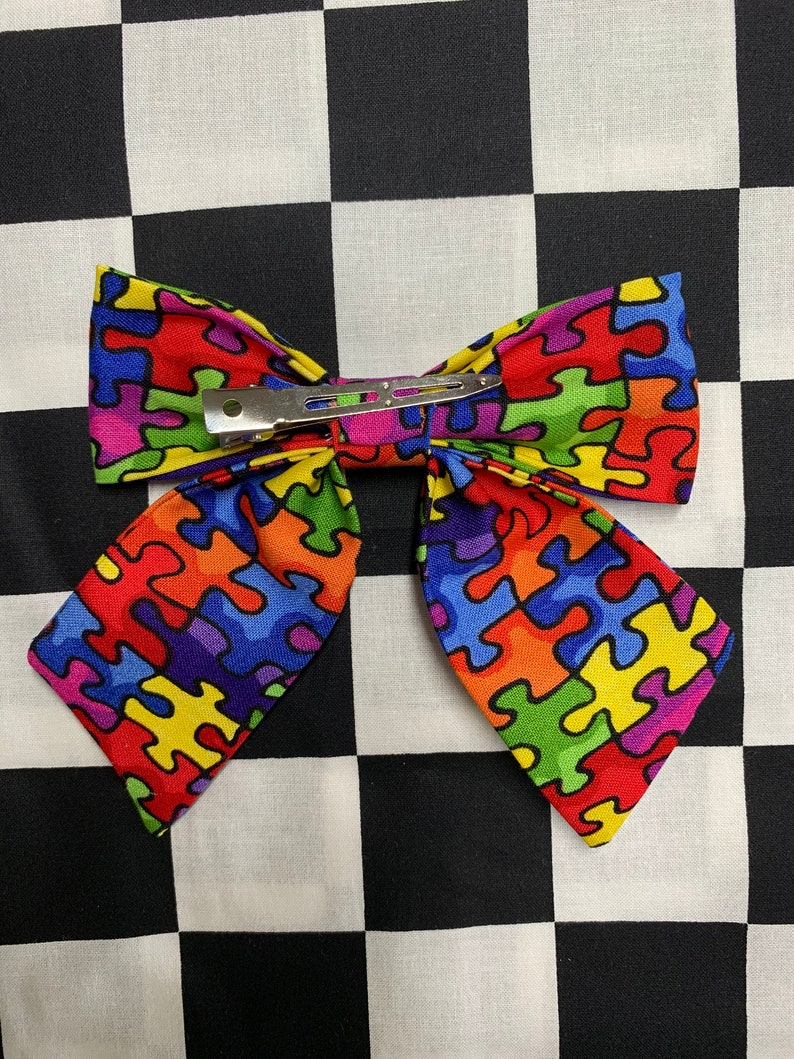 Autism Awareness Puzzle Sailor Style Hair Bow Clip