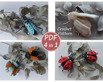 Combo 4 in 1: crochet pattern, barbel, beetle, moth, ladybug, beetle pattern, brooch, crochet amigurumi, pattern toy, miniature toys