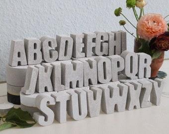 Concrete letter A-Z, concrete heart