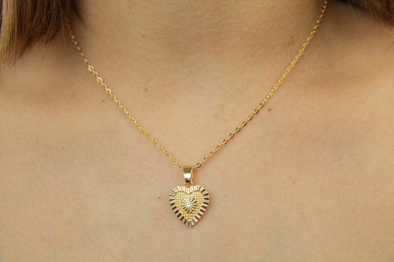 heart necklace gold heart pendant heart jewelry Gold Heart Necklace Mother/'s Day Gifts gold heart necklace heart pendant