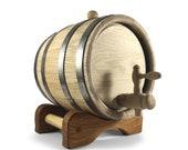 Wooden Oak Barrel 3L, Personalised Whiskey Barrel, Bourbon Wine Whiskey Cask, Engraved Barrel, Custom Wooden Gift For Him Dad, Wood Keg