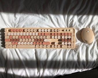 Beige Cream Mechanical Type Wireless Keyboard - Cute Typewriter USB with mouse - Coffee theme - Membrane Keyboard -