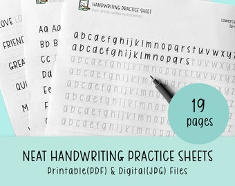 Neat Handwriting Practice Sheets, Printable Handwriting Worksheets, Alphabet Writing Practice, ABC Letter Tracing, Hand lettering practice
