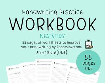Neat Handwriting Practice Workbook, Printable Handwriting Worksheets, Alphabet Writing Practice, ABC Letter Tracing, Hand lettering practice