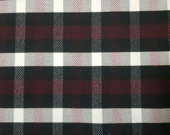 Washable Wool Coat Fabric Checked Stretch Sold By The Metre