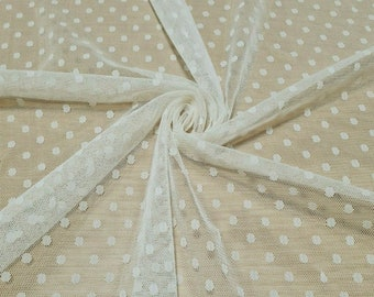 Tulle Net Lace Stretch Fabric Cream Colour Spotted  - Sold By The Metre