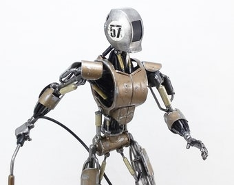 Welder Robot Sculpture, Robot Metal Art, WelderBot Steampunk Robot Sculpture, Recycled Scrap Metal Art, Dieselpunk Art