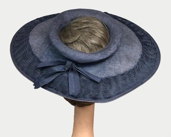 Vintage 1940's Open Crown Wide Brim Navy Straw Pl… - image 5