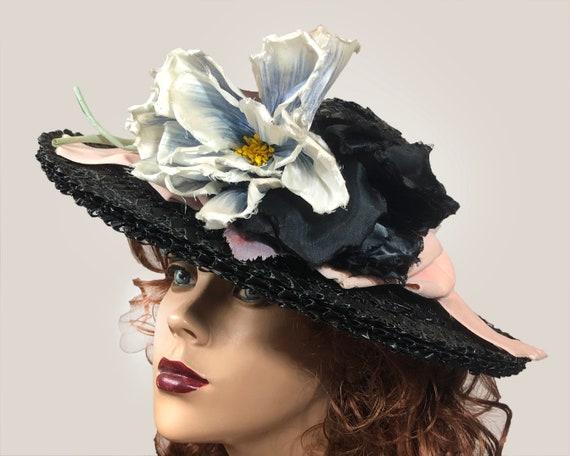 Vintage 1940's Black Straw Wide Brim hat Velvet R… - image 2