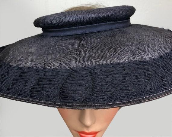 Vintage 1940's Open Crown Wide Brim Navy Straw Pl… - image 6