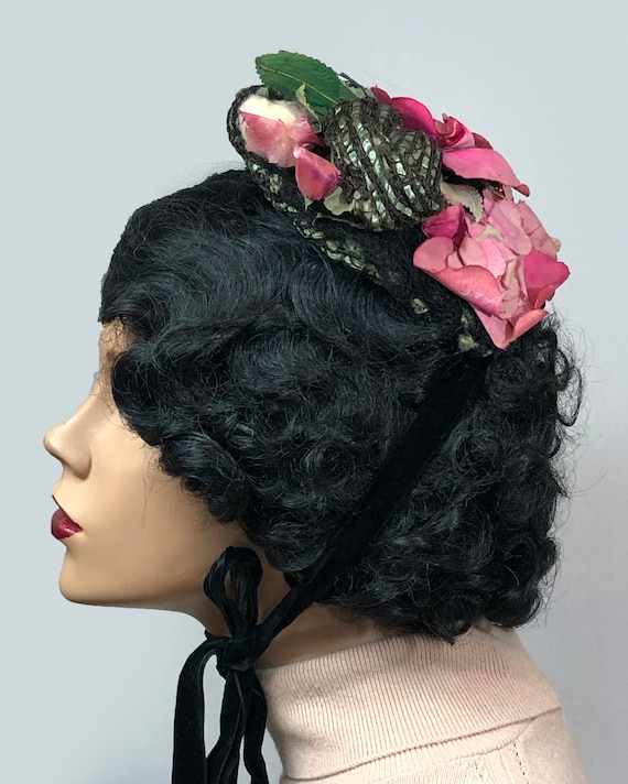 Antique Victorian 1890's Bonnet with Roses - image 2