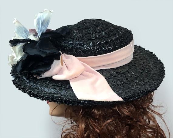 Vintage 1940's Black Straw Wide Brim hat Velvet R… - image 5