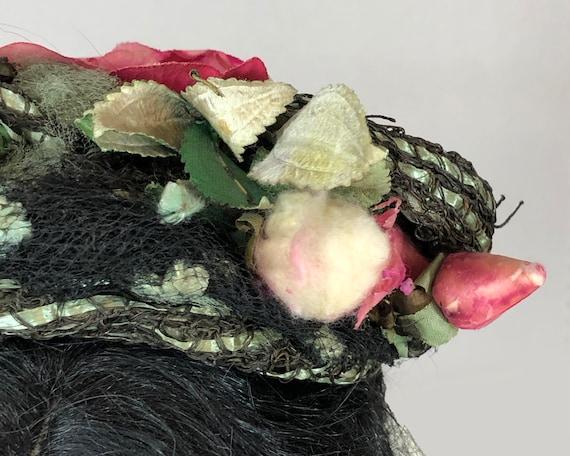 Antique Victorian 1890's Bonnet with Roses - image 9