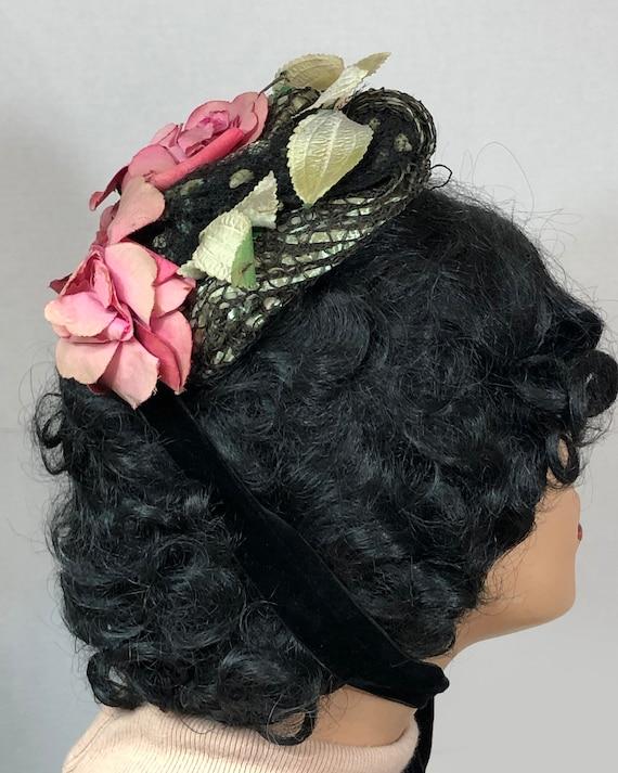 Antique Victorian 1890's Bonnet with Roses - image 4