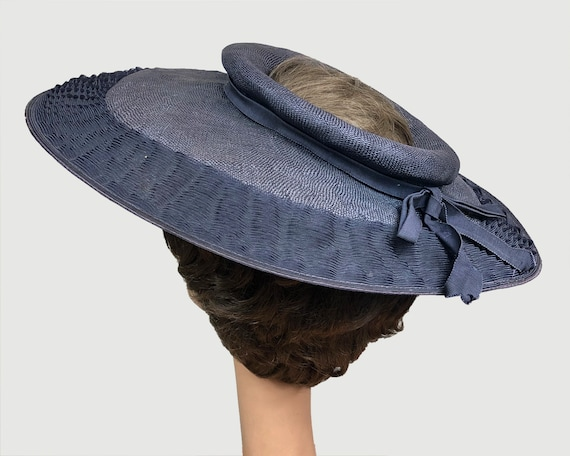 Vintage 1940's Open Crown Wide Brim Navy Straw Pl… - image 3