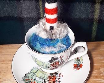 Little Scottish landscape / sceenery in a tea cup - Hebridean storm/sea/lighthouse/Scottish present/ highland/vintage tea cup/Scotland decor