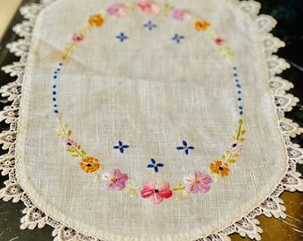 Vintage Embroidered Linen Doily