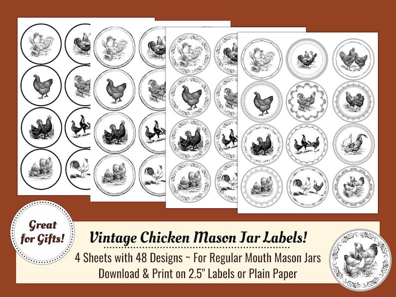 Vintage Chicken Mason Jar Lables image 0