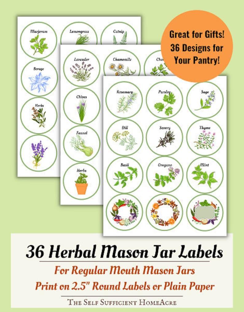 Herbal Mason Jar Labels image 0
