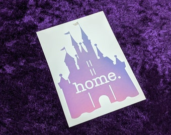 Disney Castle Home Permanent Vinyl Decal in Magical Holographic or White ~ Black