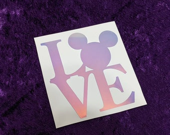 Love Mickey Square Permanent Vinyl Decal in Magical Holographic or White ~ Black