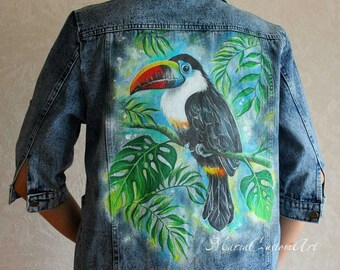 Customizable Hand Painted Kid/'s Denim Jacket Toucan